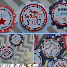 Baseball Birthday Decorations - Cupcake Toppers