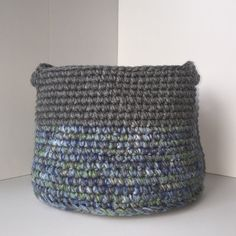 Large Crochet Storage Basket Grey with Blue and Green by Tenitab #crochet #home #decor