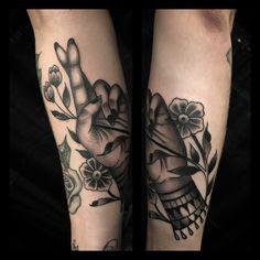 Fingers crossed tattoo by  Nate Fierro