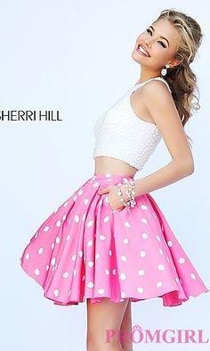 Short Two Piece Polka Dot Sherri Hill Dress at PromGirl.com