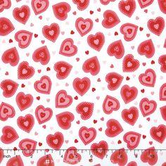 Kewpie Love - Heart Cream Yardage