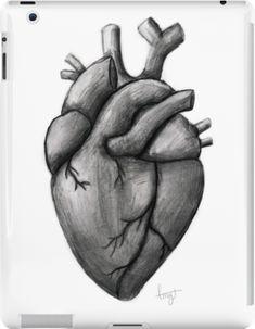 Anatomical Heart Drawing, Human Heart Drawing, Heart Lock Tattoo, Value Drawing, Small Canvas Art, Heart Painting, Lip Designs, Heart Art, Ipad 4