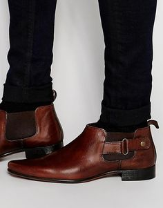 Image 1 of ASOS Chelsea Boots in Brown Leather