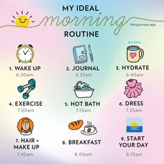 Morning Routine School, Morning Routine Checklist, Healthy Morning Routine, Routine Planner, Night Routine, Healthy Routines, Self Care Bullet Journal, Estilo Fitness, Vie Motivation