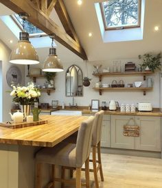 17 Stunning Rustic Country Kitchen Design And Decor Ideas ~ Gorgeous House Rustic Country Kitchens, Country Kitchen Designs, Cottage Kitchens, Home Kitchens, Kitchen Post, Home Decor Kitchen, New Kitchen, Kitchen Dining, Kitchen Units