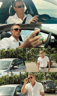 "Daniel Craig's Wearing Sunglasses in ""IAN FLEMING'S JAMES BOND 007 in CASINO ROYALE"" [2006 Film] http://www.smartbuyglasses.com/designer-sunglasses/Persol/Persol-PO0649-2433-15826.html http://www.thesterlingsilver.com/product/oakley-oo6018-06-scuderia-ferrari-carbon-tinfoil-rectangle-sunglasses-polarised/"