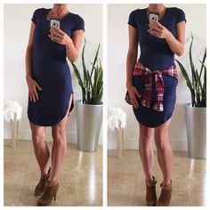 LAST ONE❗️Blue T-Shirt Dress This super cute navy blue t-shirt dress is perfect to throw on with a pair of booties and look effortlessly chic! Made of 92% polyester and 8% spandex. Great fit and very comfortable! Only available in L. Dresses