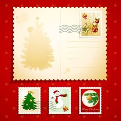 christmas elements stamp 02 vector
