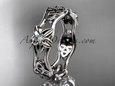 platinum diamond celtic trinity knot wedding band, flower engagement ring CT7153B