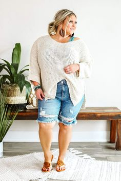 Looking for curvy faded denim cutoff bermuda shorts? This pair of super-light wash destroyed denim shorts are perfect for women sizes Curvy online boutique Afterpay Plus Size Boutique, Boutique Tops, Distressed Bermuda Shorts, Curvy Jeans, Denim Cutoffs, Plus Size Fashion For Women, Long Shorts, Fashion 2020, Clothes For Women