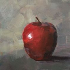 "Daily Paintworks - ""Single Red Apple"" - Original Fine Art for Sale - © Shannon Bauer"