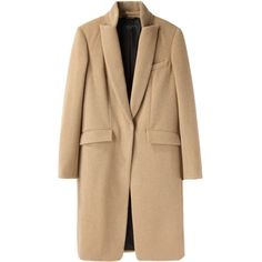 Rag & Bone Roseburg Coat ($1,095) ❤ liked on Polyvore featuring outerwear, coats, jackets, coats & jackets, knee length coat, beige coat, stand collar coat, rag bone coat and long sleeve coat