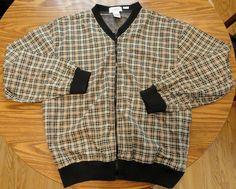 Mens XL Titleist golf jacket black yellow white plaid front zip #TitleistByCorbin #BasicJacket