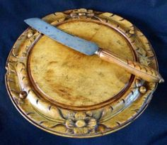 19thC English Bread Board & Matching Knife, Carved Beech, Bramhall & Co, ca.1880, sold $252