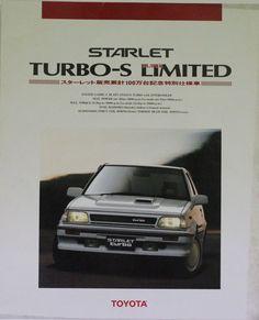Japanese Brochure TOYOTA STARLET TURBO-S LIMITED Sales Classic Car Catalog jr90