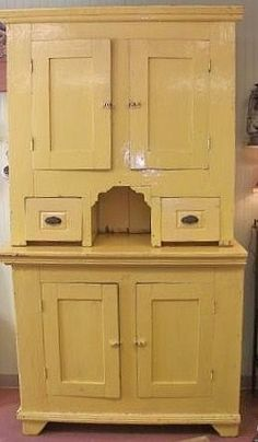 GREAT Primitive Pine Wood Cabinet with Yellow Paint to Storeyour Precious Collectibles! Create Your Own Website, Yellow Painting, Spring Is Here, Wood Cabinets, Spring Colors, Kitchenware, Primitive, Entertaining, Rustic