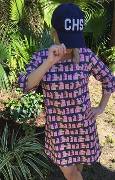 Topping a Borough shift dress with an Aviate CHS hat I Borough Elliotborough Tunic Dress I House Hunting Print