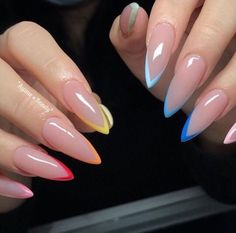 French Stiletto Nails, Ombre French Nails, French Acrylic Nails, Bling Acrylic Nails, Almond Acrylic Nails, Best Acrylic Nails, French Tip Nails, Gel Nails, Summer French Nails