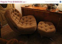 Big Sale Vintage Mid Century Modern Chair Ottoman Club Chrome Lounge Swivel Hollywood Regency Egg Pod Knoll Eames Swedish Danish Arne Jacobs