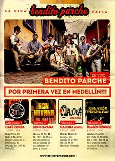 """...y ya se acerca """"La Gira Paisa""""!, Bendito Parche estará del primero al cuatro de julio en la ciudad Medellín en un ciclo de 4 conciertos llevando su soncocho y su sabor!"""