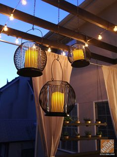 DIY Outdoor Decor Ideas: A Pergola with String Lights and Hanging Lanterns. This would be a dream! #pergola #BringInSpring