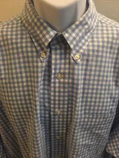 Brooks Brothers XL Gingham Shirt Relaxed Fit Button Down Long Sleeve Blue White | eBay