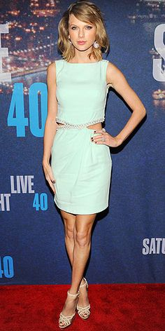 Last Night's Look: Love It or Leave It? Vote Now! | TAYLOR SWIFT | in an Azzaro cut-out dress with Jimmy Choo sandals and Lorraine Schwartz jewels at the SNL 40th Anniversary Celebration in N.Y.C.