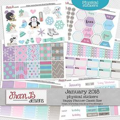 January 2018 Planner Stickers by FranB Designs - https://www.etsy.com/listing/570338806/january-2018-planner-stickers