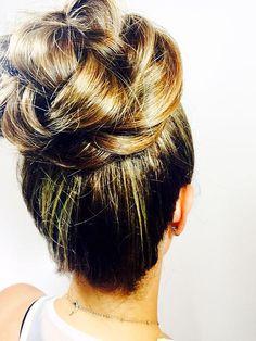 Wedding Hair. High bun. Braided bun. Bridal Hair. Bride. Bridesmaid.