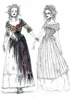 """beesquid: """" gothiccharmschool: """" Colleen Atwood costume sketches for Sweeney Todd! """" Sweeney Todd: The Demon Barber of Fleet Street // Colleen Atwood """" """" JEEEZZ """" Theatre Costumes, Movie Costumes, Cool Costumes, Ballet Costumes, Costume Ideas, Colleen Atwood, Sweeney Todd Costume, Mrs Lovett, Marla Singer"""