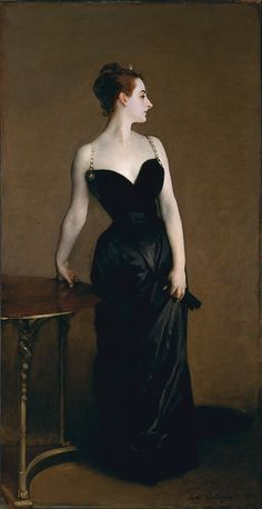 "Virginie Gautreau, depicted in a black dress in Sargent's famous portrait ""Madame X"""