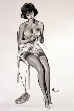 Pin Up Girl Knitting, 1960 - original vintage poster by Pierre-Laurent Brenot