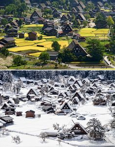 10+ Before-And-After Photos Of Winter's Beautiful Transformations / The Historic Village Of Shirakawa-Gō, Japan