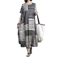 d2b66b249bf OAKBAY Womens Summer Loose Fit Stripes Linen Long Dress Casual Dress With  Pocket at Amazon Women's Clothing store:
