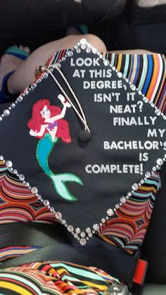 Graduation Gifts My original Little Mermaid graduation cap! Forever a Disney kid Disney Graduation Cap, Funny Graduation Caps, Graduation Cap Designs, Graduation Cap Decoration, Nursing Graduation, High School Graduation, College Graduation, Graduation Hats, Graduation Ideas