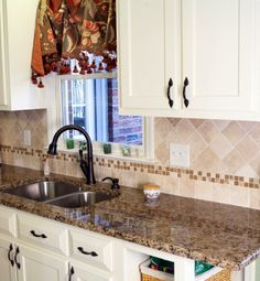 Clients Backsplash X Travertine Field Tile And X Bronze - 4x4 white tile with gold specks
