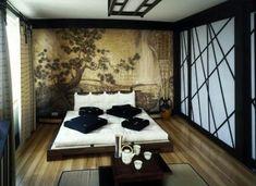 chambre à coucher, décoration asiatique et portes coulissantes en noir et blanc