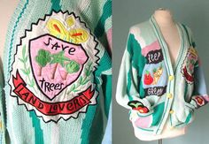 80s Vintage Bomber Jacket Style Varsity Cardigan with Applique Oversized. £35.00, via Etsy.