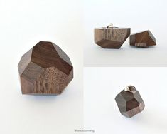 Engagement ring box - proposal box - ring holder - faceted wood ...