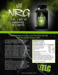 TLC's NRG Product One Sheet – Total Life Changes™  To Order: https://www.totallifechanges.com/charmcrenshaw My IBO Number: 6628311 Email me: ElainesTLC@gmail.com