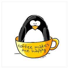 Coffee penguin Poster
