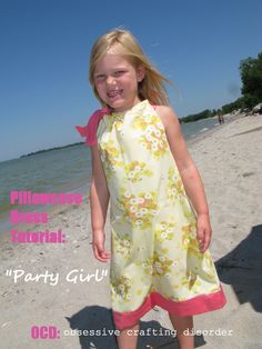 """Like """"The Classic,"""" this dress was made from a pillowcase, and for less than $2! The big side bow at the neck is perfect for a party prince..."""