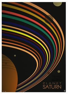 Saturn - the most spectacular planet of the Solar System, beside the Earth, shows its amazing rings and a few moons in this very attractive and decorative poster design by England's popular artist, Robert Rusin.  www.mkfive.co.uk  www.zazzle.co.uk/ziggymk