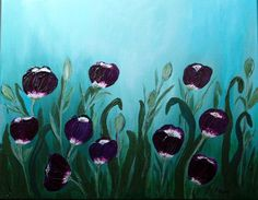"""Tulip Purple,Tulips Impressionism,Acrylic Canvas,Spring Landscape  Spring captured on canvas.  Original acrylic on 16"""" X 20"""" X 5/8"""" wood frame, may be hung with or without additional frame.  Purchase"""
