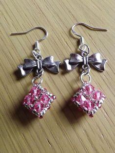 Rose Preciosa Glass Bicone Diamond Beaded With Bows Dangle Earrings Silver Hooks