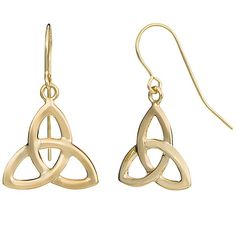 Fremada 10k Gold Celtic Knot Drop Earrings ($76) ❤ liked on Polyvore featuring jewelry, earrings, celtic, accessories, merida, yellow, yellow gold jewelry, drop earrings, gold earrings and gold celtic earrings