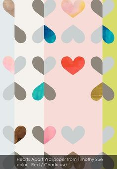 Hearts Apart wallpaper from Timothy Sue in Red / Chartreuse