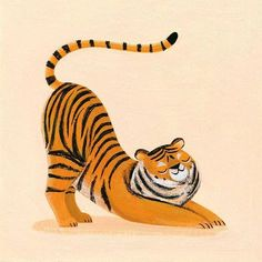 Even the big cats like to stretch with their butts in the air Happy Caturday Illustration by heynelliele Tiger Illustration, Animal Illustrations, Digital Illustration, Illustrations Posters, Illustrator, Sketchbook Inspiration, Gouache, Big Cats, Animal Drawings