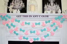 Tutus or Ties - Boy or Girl - Baby Shower decorations  This adorable garland is made from card stock tutus and bowties. The garland is sewn