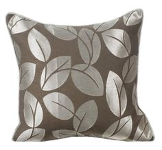 Decorative Throw Pillow Covers Couch Pillows Sofa Bed Pillow Toss Pillow 16 x 16 Grey Pillow Case Bedding Frosted Leaves  ____________________________________________________________________    This Pillow Cover is made using a Luxurious and contemporary combination of Grey and light silver fabric. The pillow cover has a grey dupioni piping cord on all four sides of the pillow cover.    The back of the pillow is made using a complementing light grey plain silk dupioni fabric with a flap…